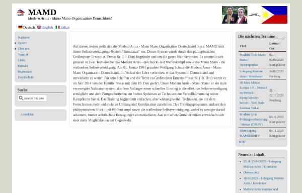 Vorschau von www.mamd.de, Modern Arnis - Mano Mano Organisation Deutschland