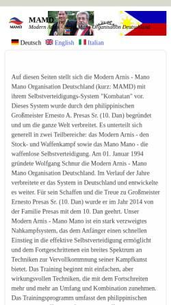 Vorschau der mobilen Webseite www.mamd.de, Modern Arnis - Mano Mano Organisation Deutschland