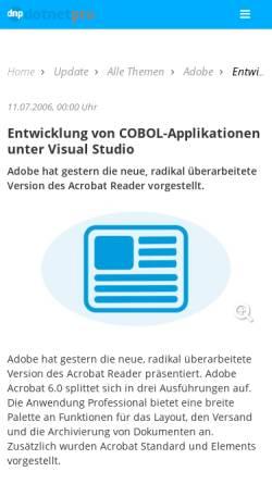 Vorschau der mobilen Webseite www.dotnetpro.de, Entwicklung von COBOL-Applikationen unter Visual Studio