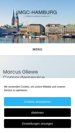 Vorschau der mobilen Webseite www.mgc-hamburg.de, Marcus Gliewe Computerservice