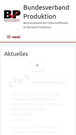 Vorschau der mobilen Webseite www.bv-produktion.de, BVP - Bundesverband Produktion e.V.