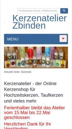 Vorschau der mobilen Webseite www.kerzenatelier.ch, Kerzen-Atelier, Rüscheg