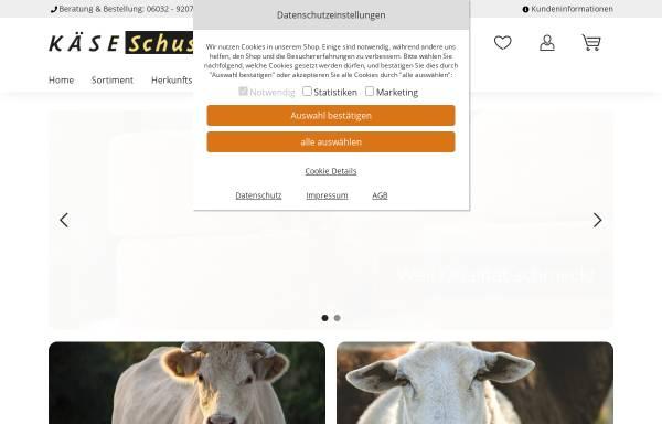 Vorschau von www.kaese-schuster.de, Käse Schuster, Gunther Schuster