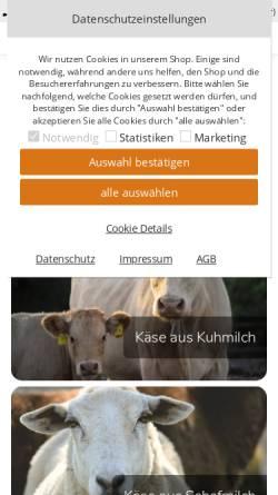 Vorschau der mobilen Webseite www.kaese-schuster.de, Käse Schuster, Gunther Schuster