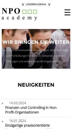 Vorschau der mobilen Webseite www.npo-akademie.at, NPO Akademie - Hütter. MC Management Consulting GmbH