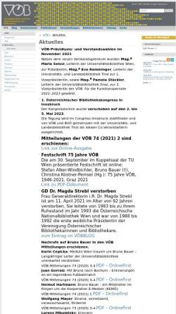 Vorschau der mobilen Webseite www.univie.ac.at, VÖB: Vereinigung Österreichischer Bibliothekarinnen und Bibliothekare