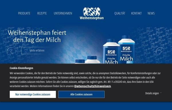 Vorschau von www.molkerei-weihenstephan.de, Staatliche Molkerei Weihenstephan