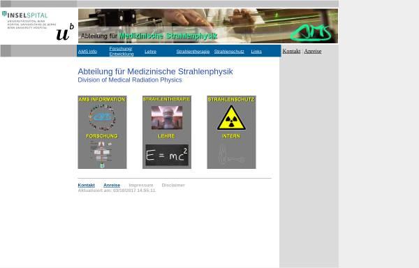 Vorschau von www.ams.unibe.ch, Bern - Abteilung für Medizinische Strahlenphysik (AMS) der Universität