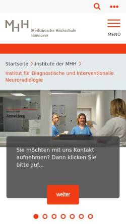 Vorschau der mobilen Webseite www.mh-hannover.de, Hannover - Institut für Diagnostische und Interventionelle Neuroradiologie