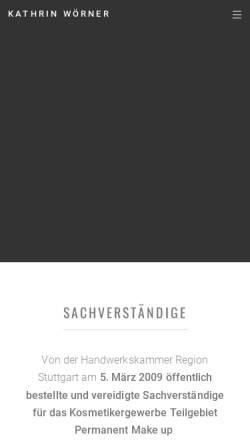 Vorschau der mobilen Webseite www.kosmetik-sachverstaendige.de, Kosmetik-Sachverständige Kathrin Döring