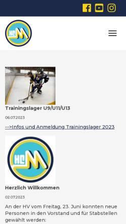 Vorschau der mobilen Webseite www.hcm-m.ch, Hockey Club Münchenbuchsee Moosseedorf