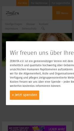Vorschau der mobilen Webseite www.zervita.de, Zervita