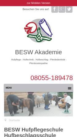Vorschau der mobilen Webseite www.besw.de, BESW Hufakademie
