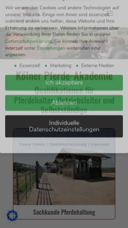 Vorschau der mobilen Webseite www.koelnerpferdeakademie.de, Kölner Pferde-Akademie
