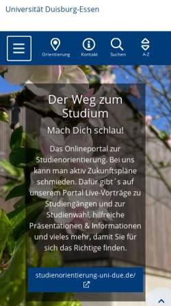 Vorschau der mobilen Webseite www.uni-due.de, Fachbereich Geographie und Biologie Duisburg/Essen
