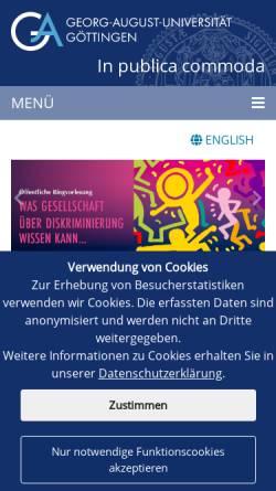 Vorschau der mobilen Webseite www.uni-goettingen.de, Geographisches Institut der Georg-August-Universität Göttingen