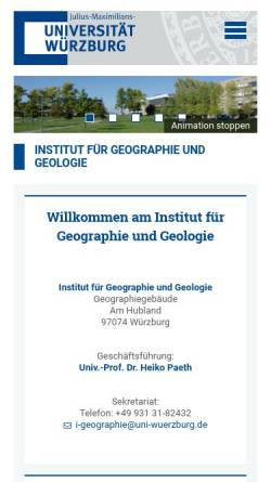 Vorschau der mobilen Webseite www.geographie.uni-wuerzburg.de, Geographisches Institut der Universität Würzburg