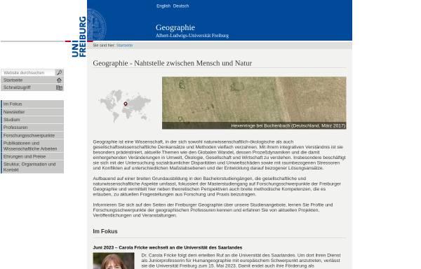 Vorschau von www.geographie.uni-freiburg.de, Institut für Kulturgeographie an der Universität Freiburg