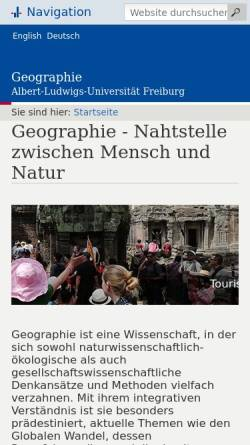 Vorschau der mobilen Webseite www.geographie.uni-freiburg.de, Institut für Kulturgeographie an der Universität Freiburg