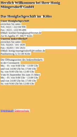 Vorschau der mobilen Webseite www.honig-muengersdorff.de, Honig Müngersdorff
