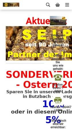 Vorschau der mobilen Webseite www.bienenzuchtbedarf-seip.de, Imkereibedarf Werner Seip