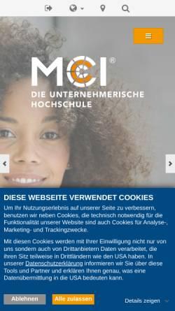 Vorschau der mobilen Webseite www.mci.edu, Management Center Innsbruck Internationale Fachhochschulgesellschaft mbH