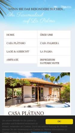 Vorschau der mobilen Webseite la-palma-traumurlaub.com, Casa Plátano und Casa Palmera
