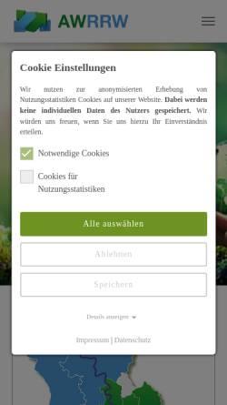 Vorschau der mobilen Webseite www.awrw.de, Verein zur Förderung der Abfallwirtschaft Region Rhein-Wupper e.V.