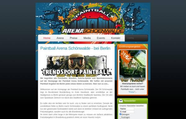Vorschau von www.paintball-schoenwalde.de, Paintball Arena Schönwalde, Thurmann & Tschen GbR