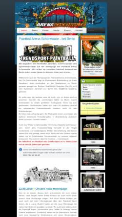 Vorschau der mobilen Webseite www.paintball-schoenwalde.de, Paintball Arena Schönwalde, Thurmann & Tschen GbR