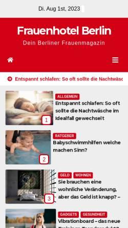 Vorschau der mobilen Webseite frauenhotel-berlin.de, Artemisia-Frauenhotel