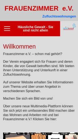 Vorschau der mobilen Webseite www.frauenzimmer-ev.de, FrauenZimmer e.V.