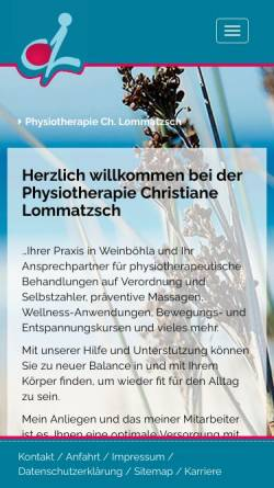 Vorschau der mobilen Webseite www.deine-physio.de, Physiotherapie Christiane Lommatzsch