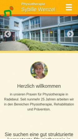 Vorschau der mobilen Webseite www.pt-wenzel.de, Physiotherapie Sybille Wenzel
