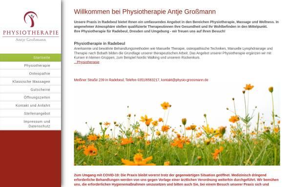 Vorschau von www.physio-grossmann.de, Physiotherapie und Massagen Antje Großmann