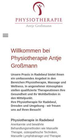 Vorschau der mobilen Webseite www.physio-grossmann.de, Physiotherapie und Massagen Antje Großmann