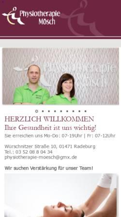Vorschau der mobilen Webseite www.physiotherapie-moesch.de, Physiotherapie-Praxis Christian Mösch