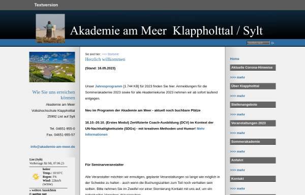 Vorschau von www.akademie-am-meer.de, Volkshochschule Klappholttal