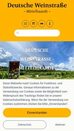 Vorschau der mobilen Webseite www.deutsche-weinstrasse.de, Deutsche Weinstrasse e.V.