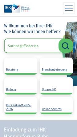 Vorschau der mobilen Webseite www.bochum.ihk.de, Industrie- und Handelskammer Bochum