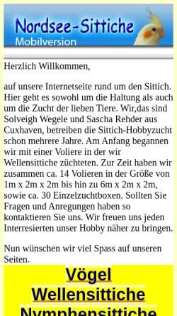 Vorschau der mobilen Webseite www.nordsee-sittiche.de, Nordsee-Sittiche.de