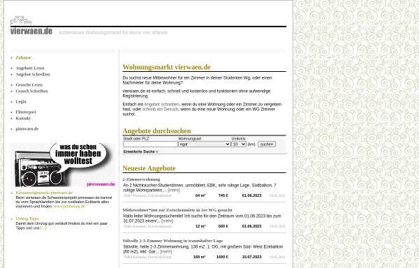 Vorschau von www.vierwaen.de, Vierwaen.de - Studentischer Online-Wohnungsmarkt