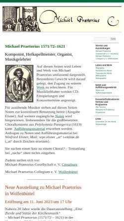 Vorschau der mobilen Webseite www.michael-praetorius.de, Praetorius, Michael