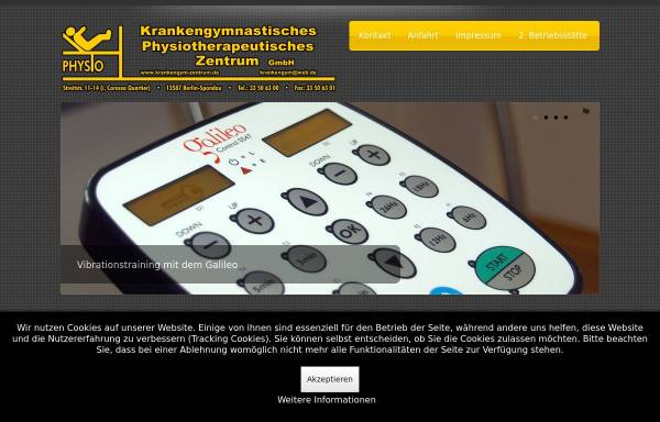 Vorschau von www.krankengym-zentrum.de, Physiotherapie und Krankengymnastik in Berlin Spandau