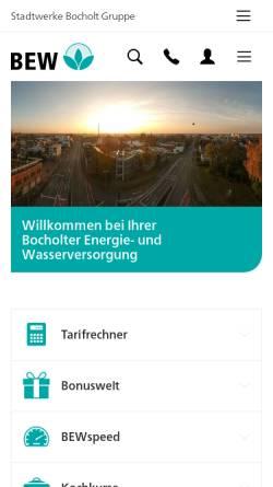Vorschau der mobilen Webseite www.bew-bocholt.de, Bocholter Energie- und Wasserversorgung GmbH