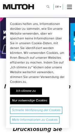 Vorschau der mobilen Webseite www.mutoh.de, MUTOH Deutschland GmbH