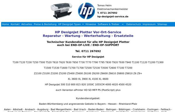 Vorschau von www.hp-designjet-service.de, HP DesignJet Service - Tomas Helm