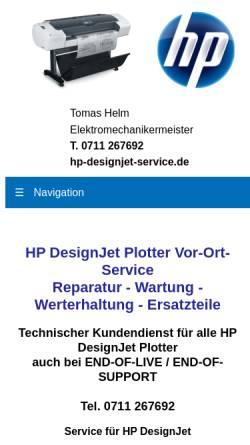 Vorschau der mobilen Webseite www.hp-designjet-service.de, HP DesignJet Service - Tomas Helm