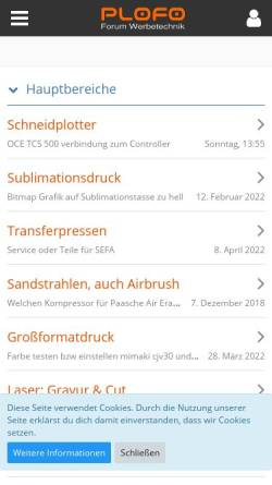 Vorschau der mobilen Webseite www.plotterforum.com, Zeichen- und Schneideplotter Forum