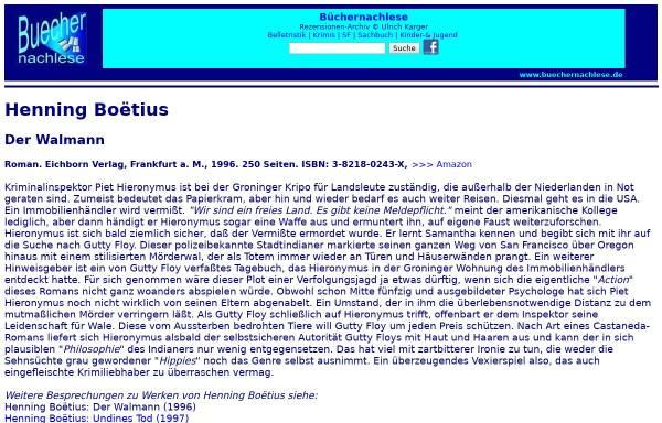 Vorschau von buechernachlese.de, Henning Boëtius: Der Walmann